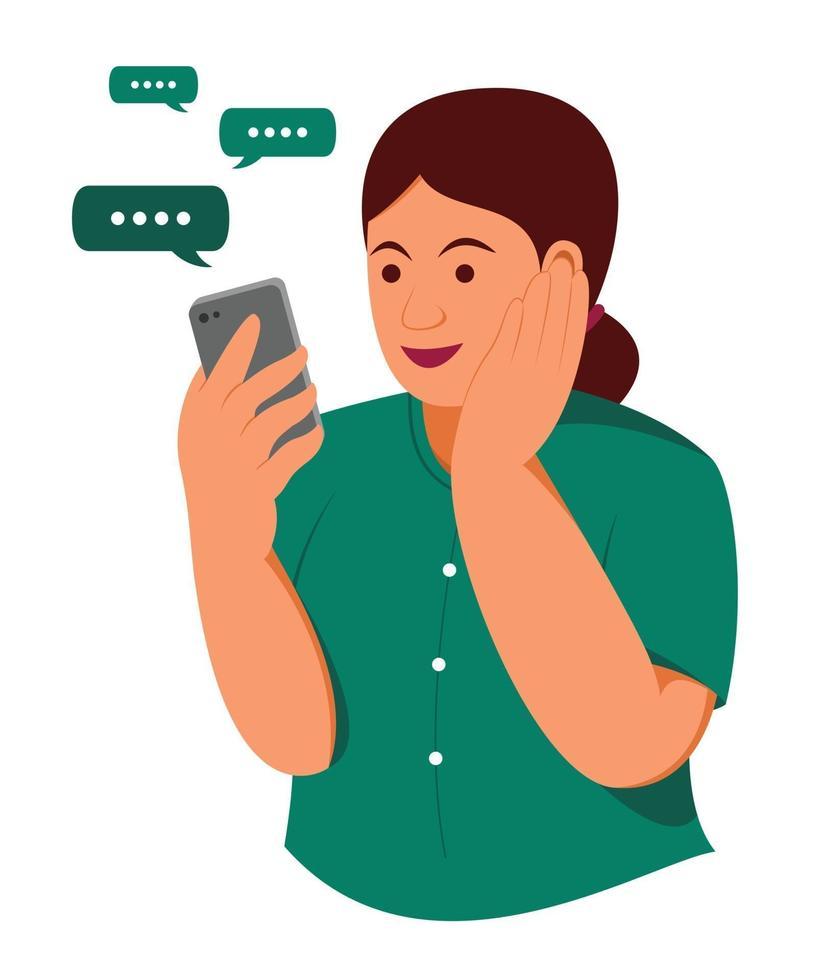 vrouw blij met chatten op mobiele telefoon. vector