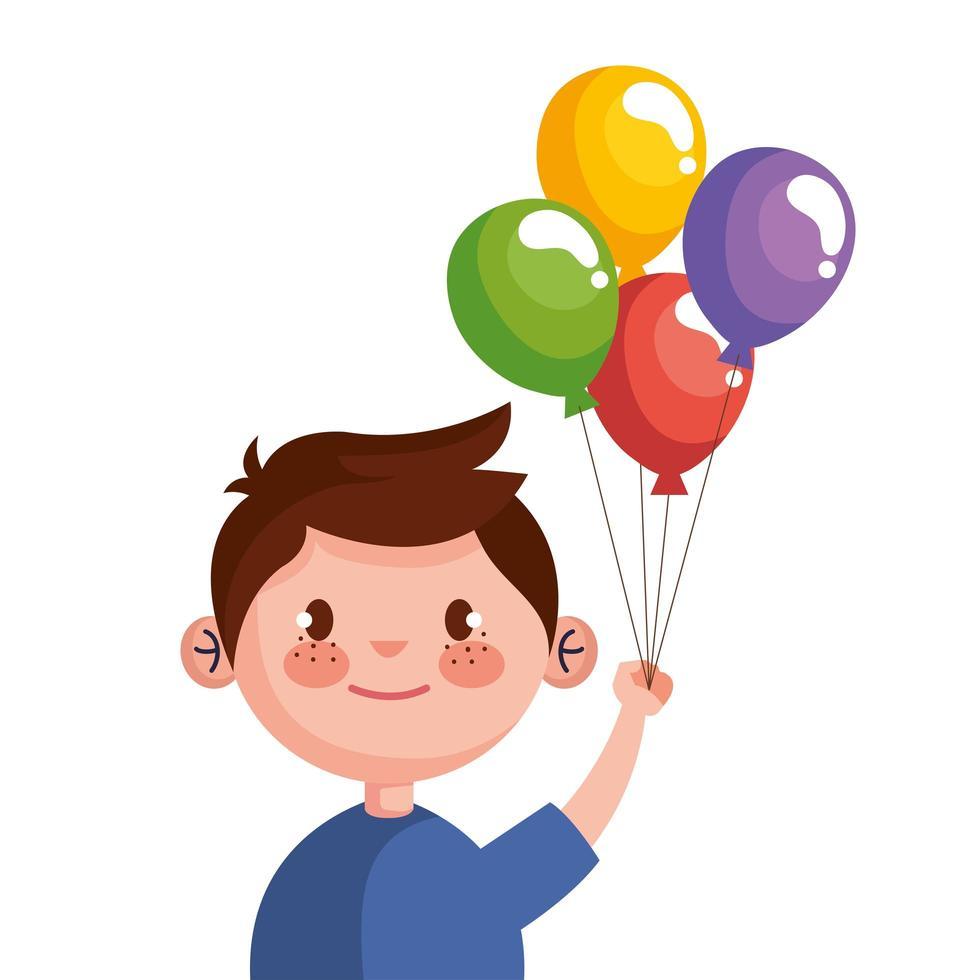schattige kleine jongen met helium karakter van ballonnen vector