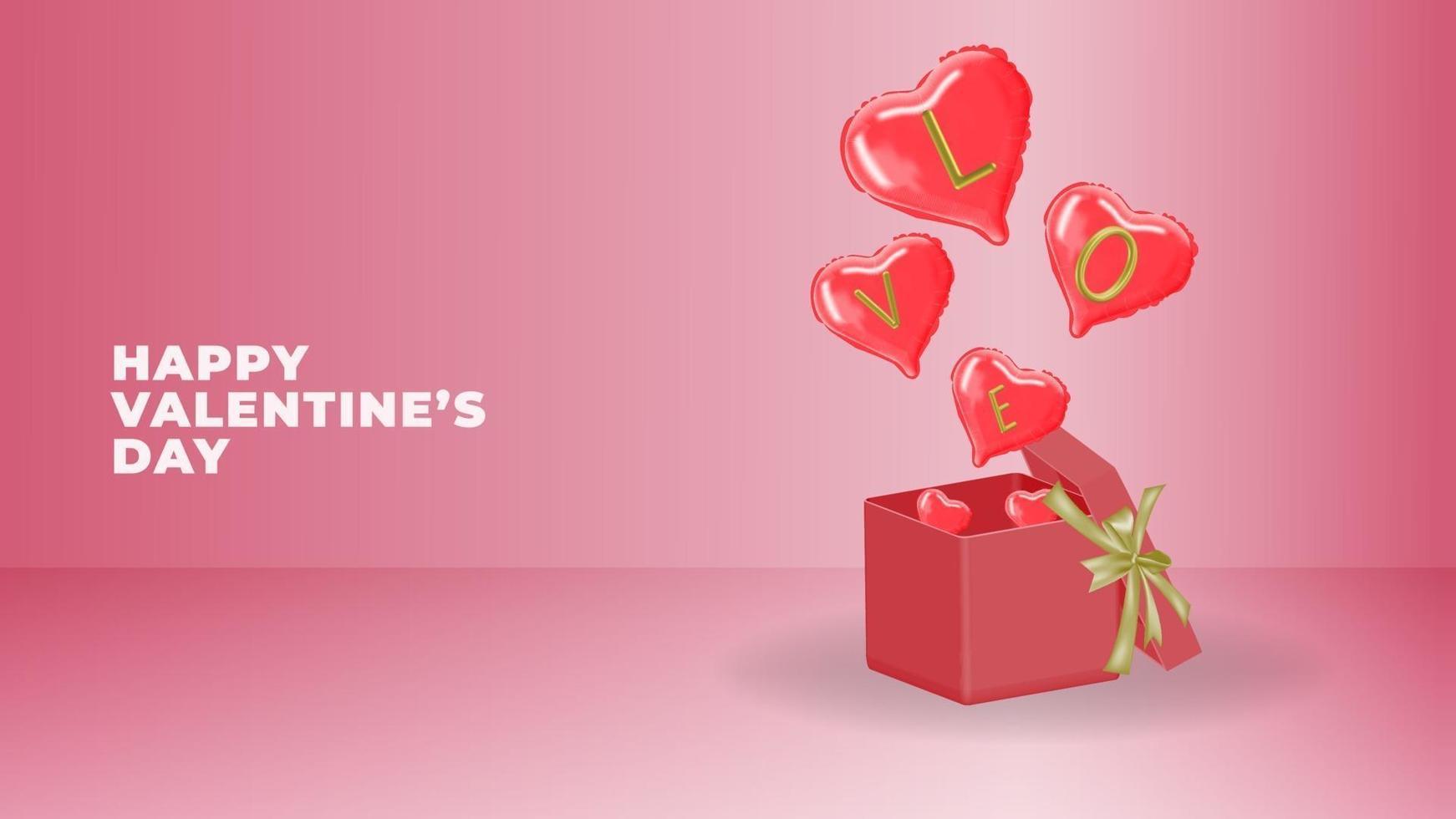 gelukkige Valentijnsdag 3D-vector vector
