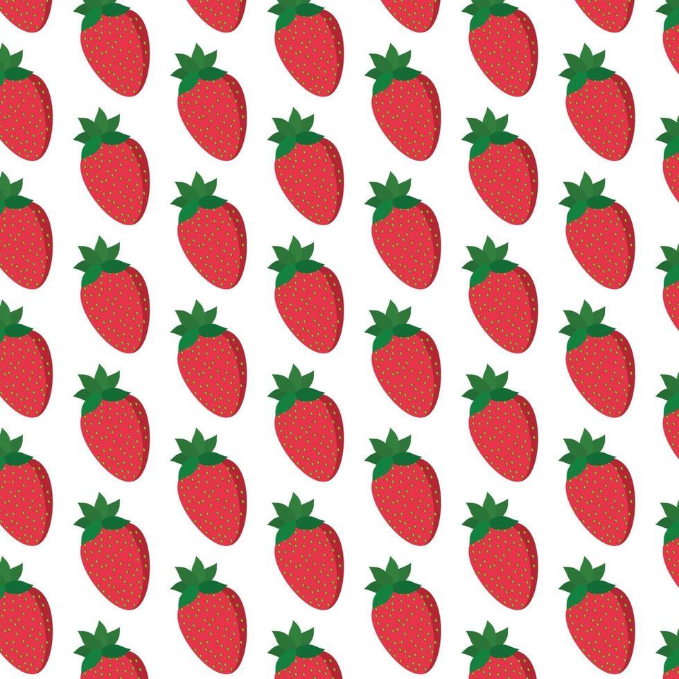 aardbeien patroon op wit vector
