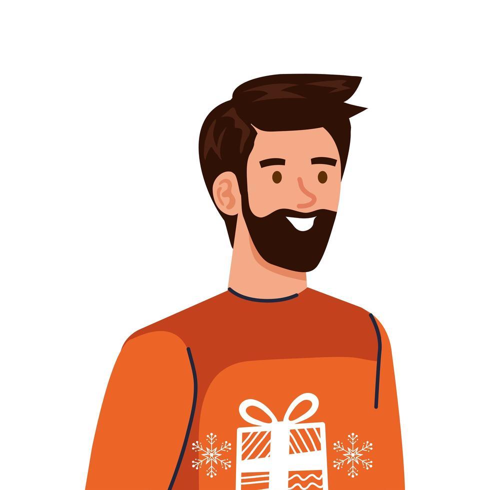 jonge man met baard dragen winterjas karakter vector