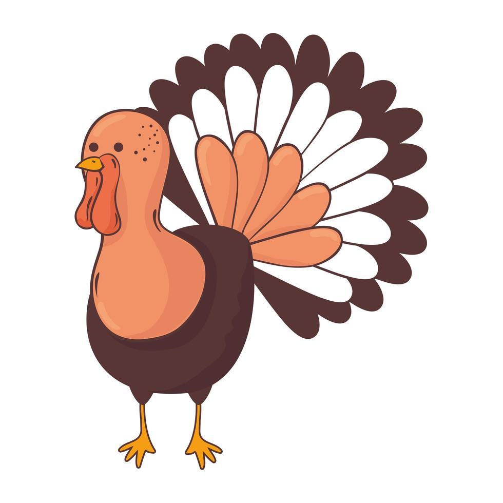 Thanksgiving kalkoen dier karakter pictogram vector