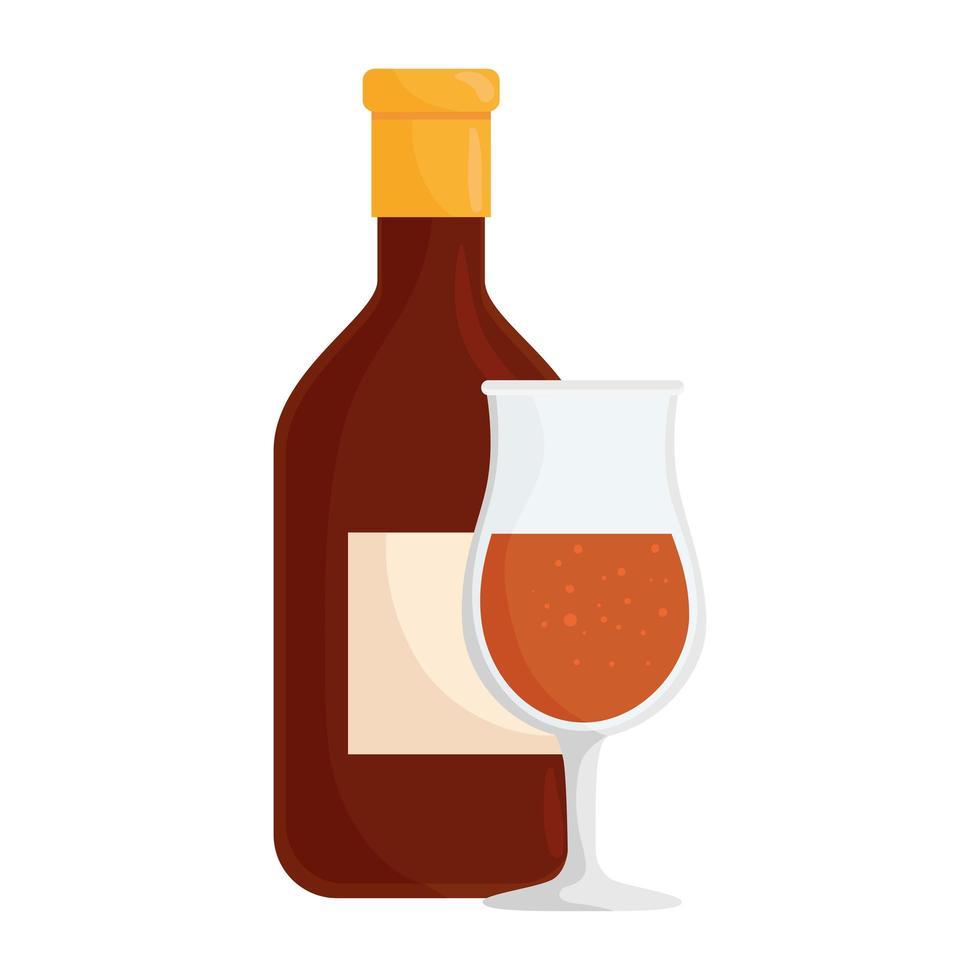 fles wijn en beker drinken geïsoleerde pictogram vector