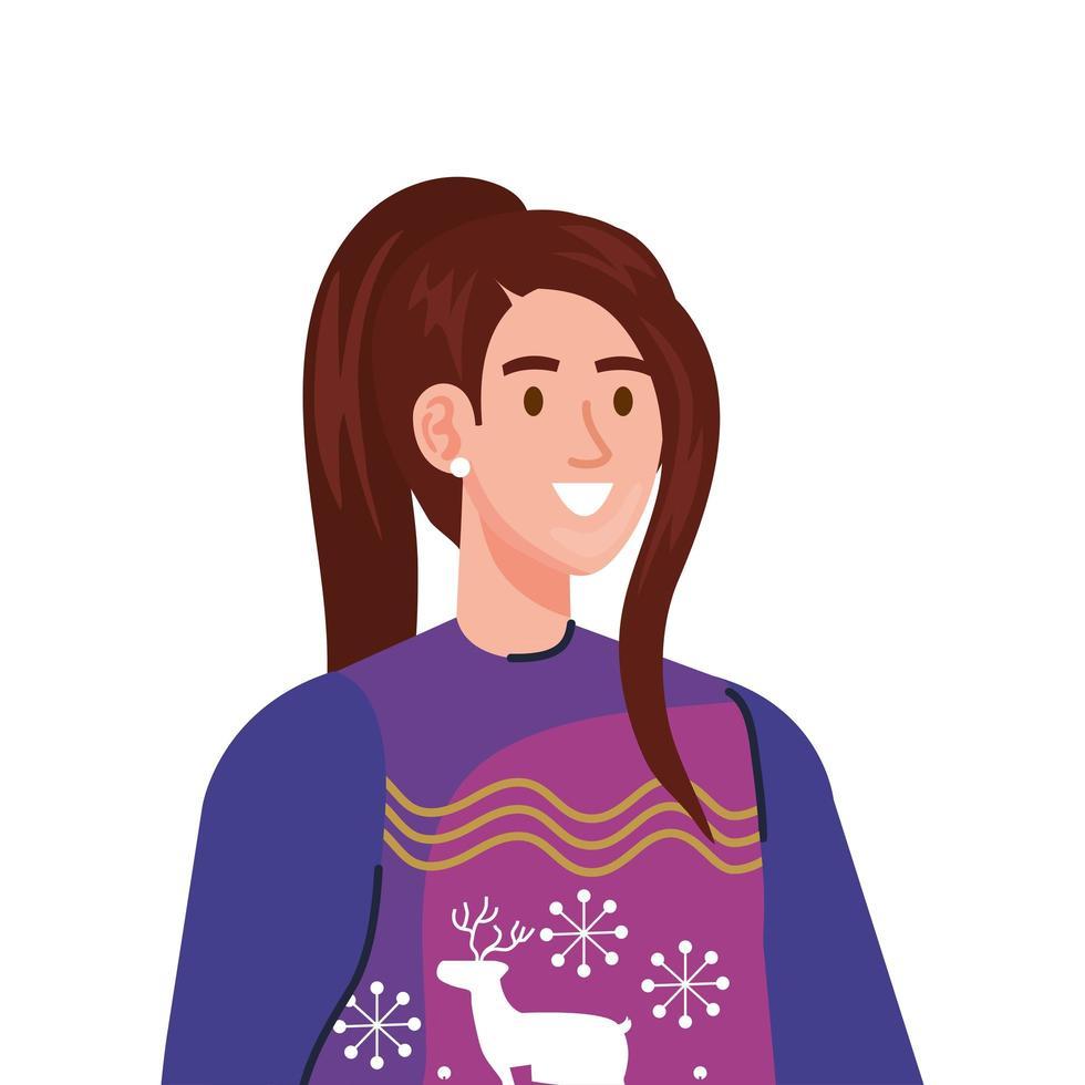 jonge vrouw die karakter van de winterpaarse jas draagt vector