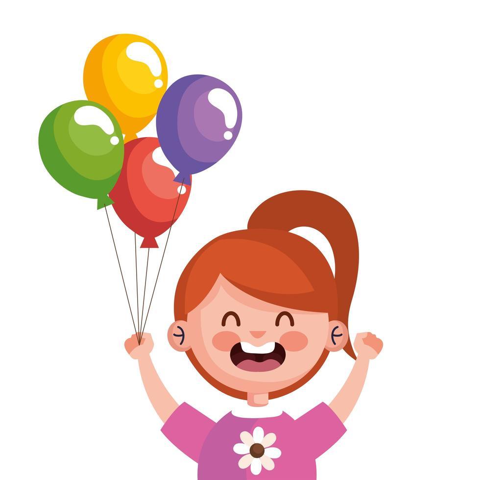 gelukkig schattig klein meisje roodharige met helium karakter van ballonnen vector