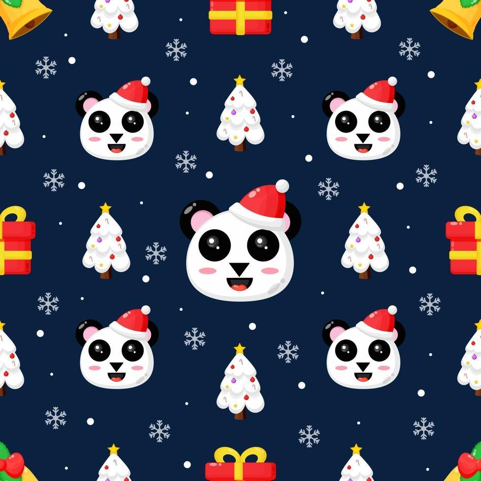 Kerst naadloze patroon met schattige panda vector