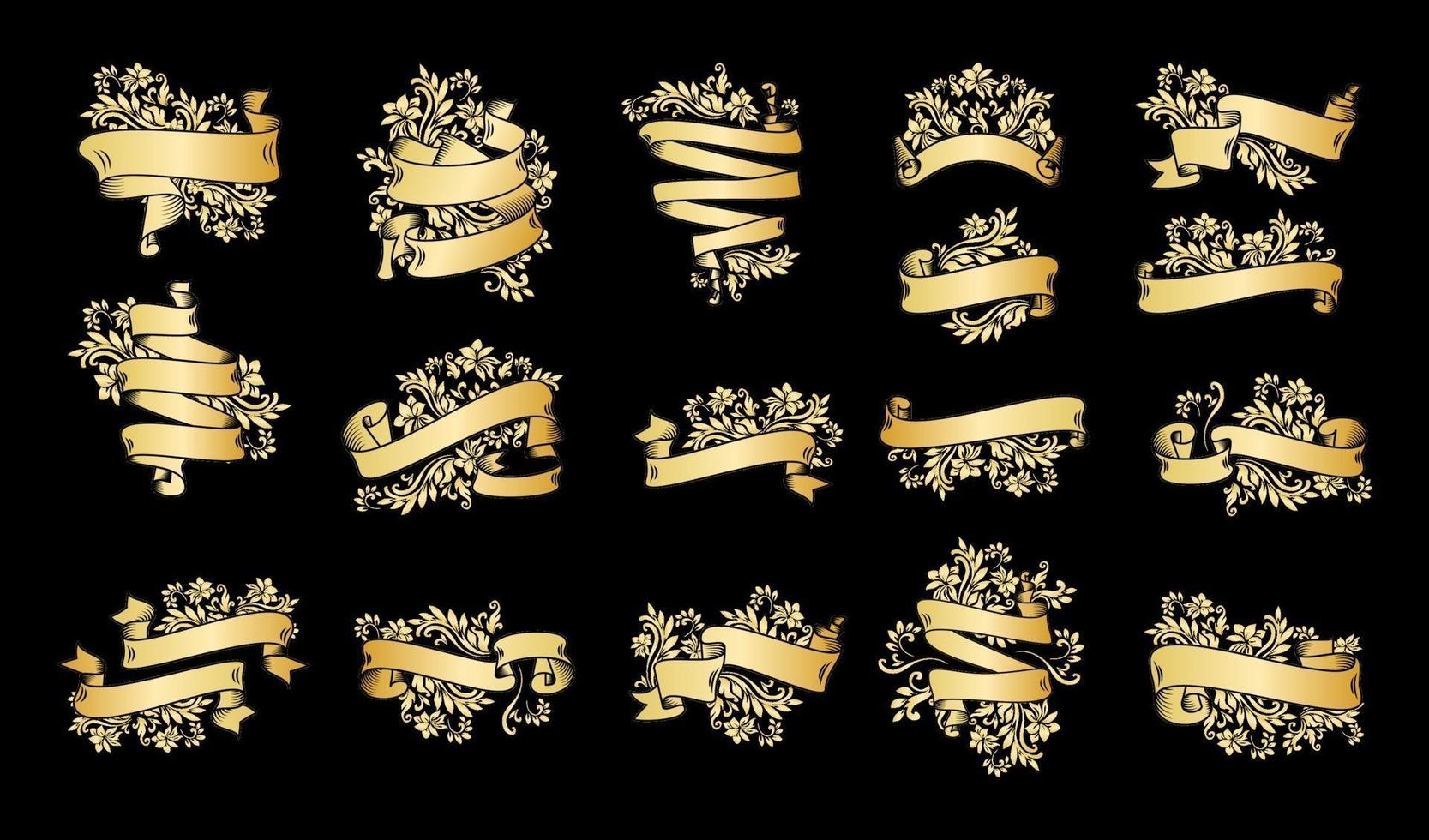 gouden vintage lintbanners op zwart vector