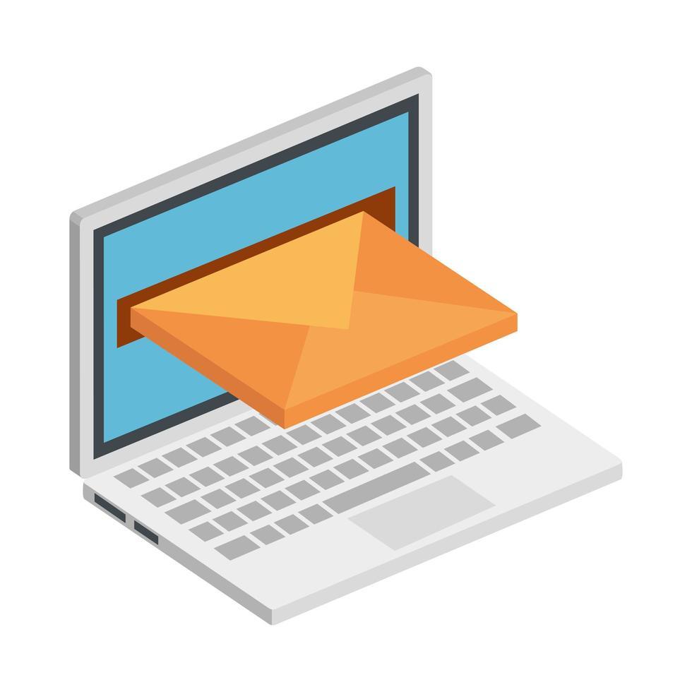 laptop computer met geïsoleerde envelop pictogram vector