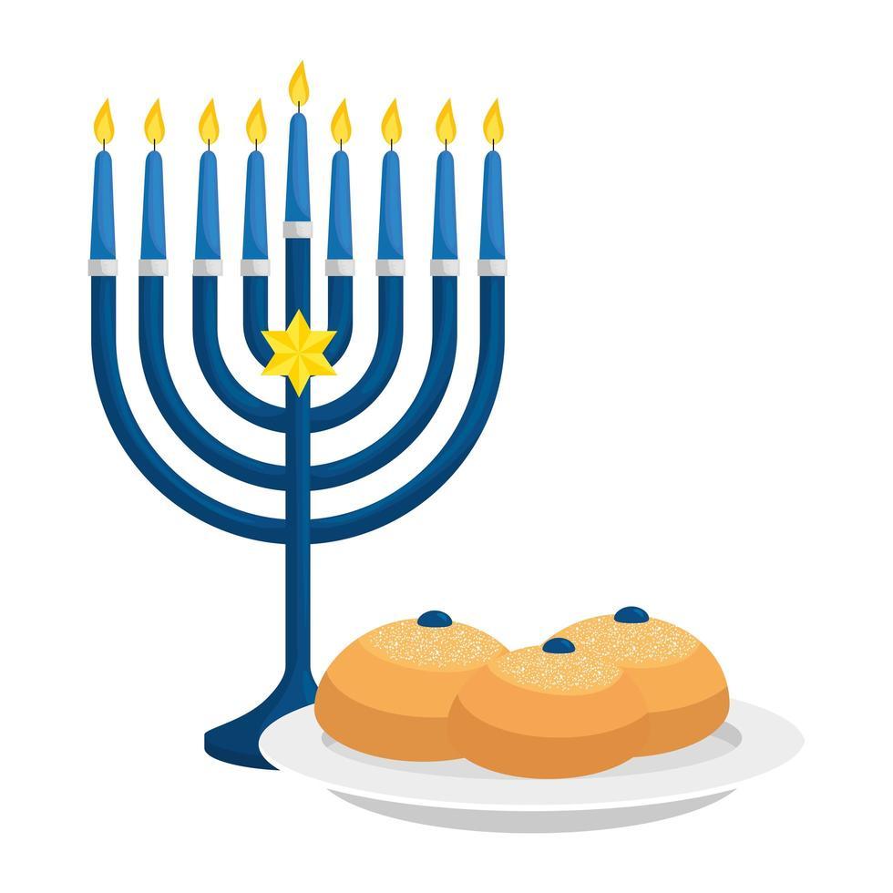 kroonluchter met kaarsen en brood geïsoleerd pictogram vector