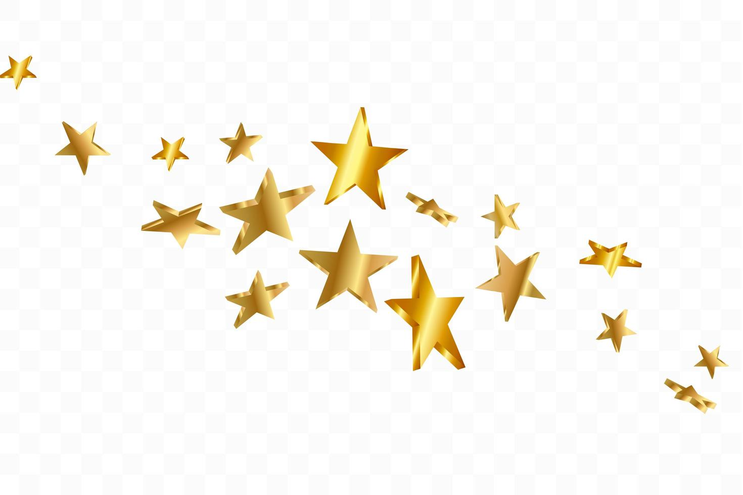 3D-sterren vallen. goudgele sterrenhemel achtergrond. vector confetti ster achtergrond.