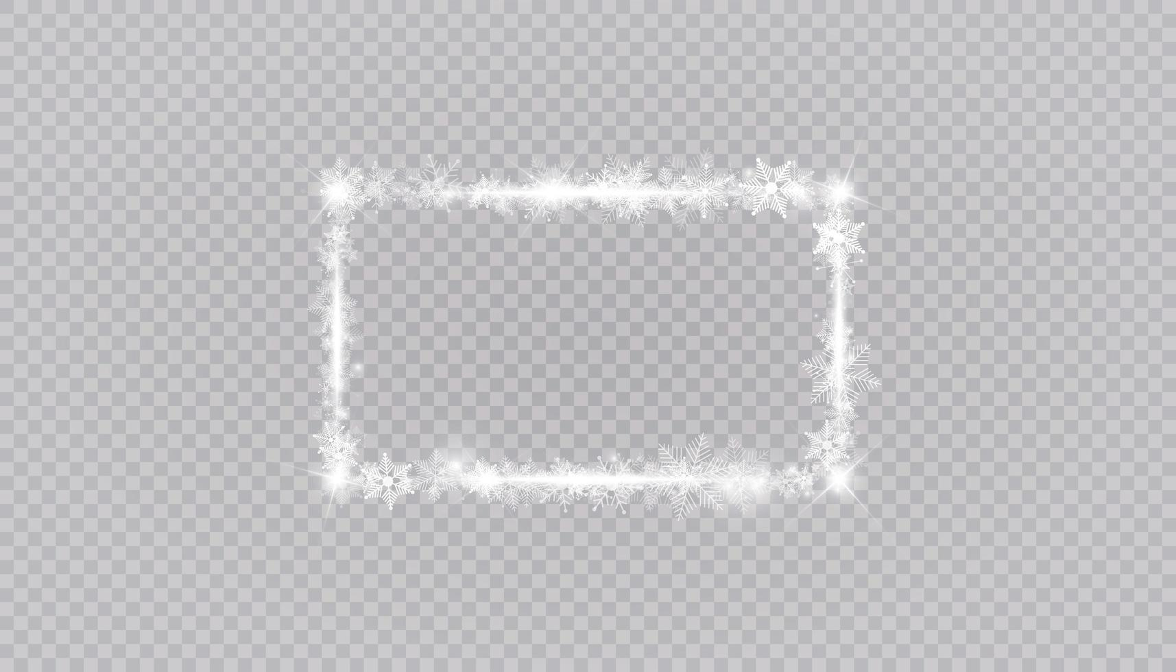 rechthoekige wintersneeuw framerand met sterren, sparkles en sneeuwvlokken vector
