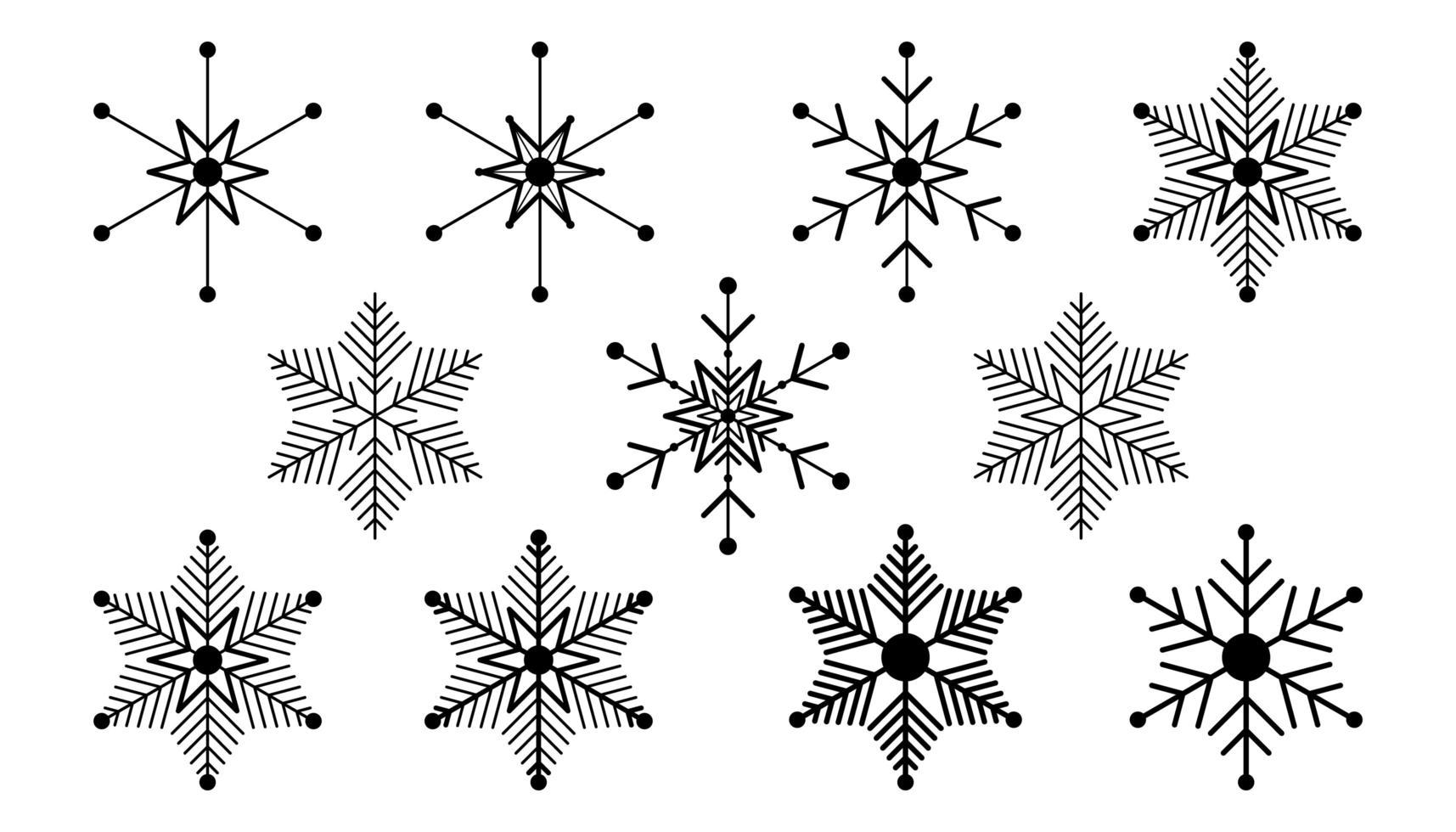 vector grote reeks zwarte sneeuwvlok ontwerpelementen op witte achtergrond. verschillende ontwerpen.