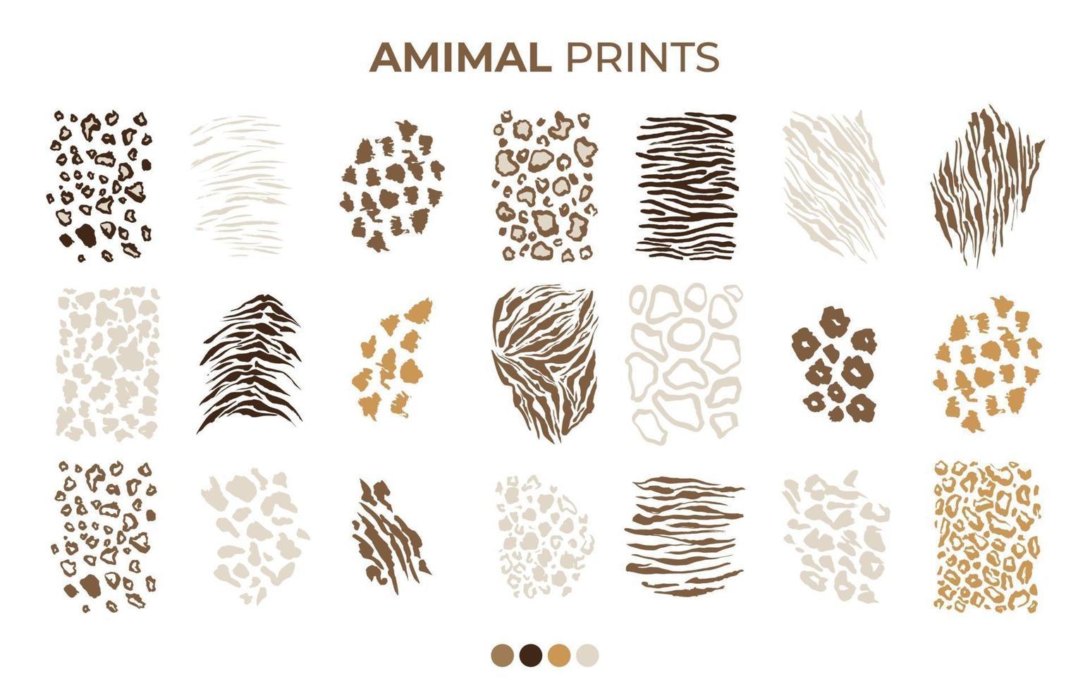 tijger, luipaard, tijger, jaguar huidafdrukpatronen vector