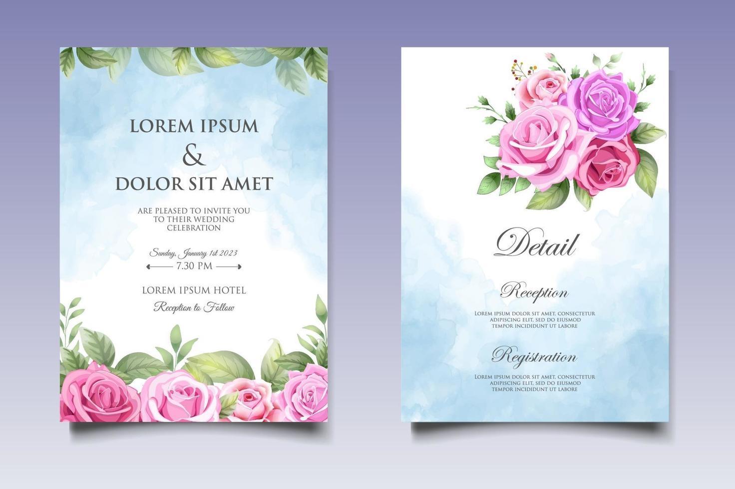 hand tekenen bloemen bruiloft uitnodigingskaart vector