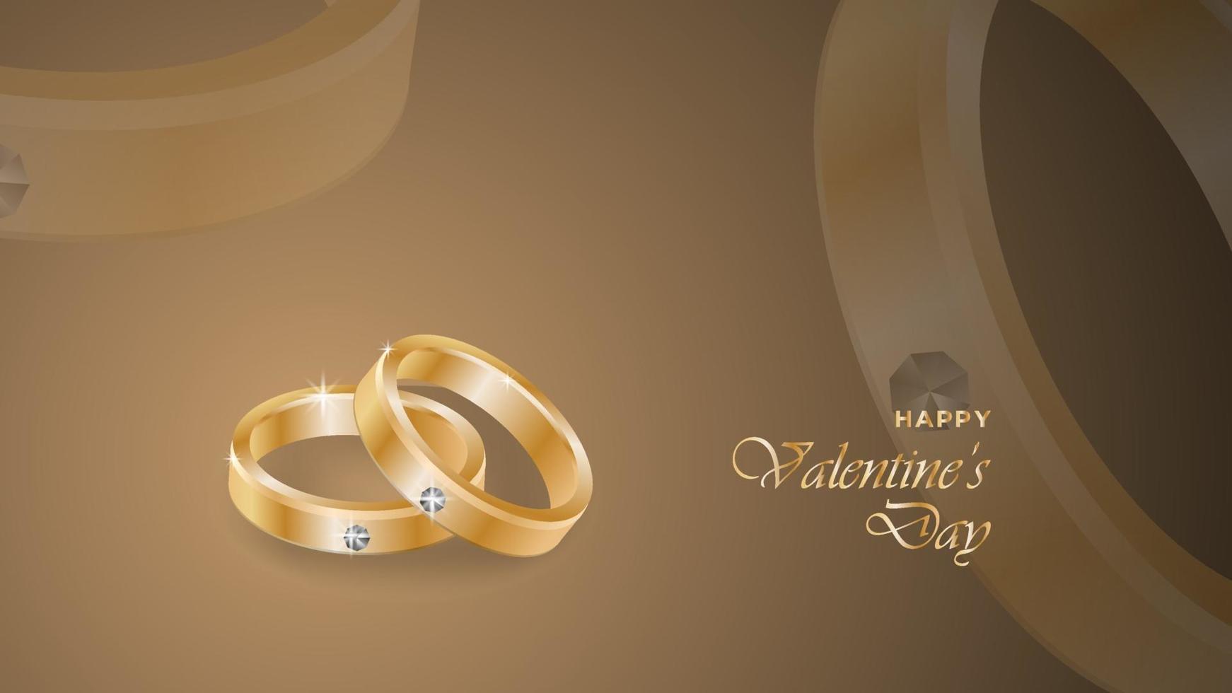 gelukkige valentijnsdag achtergrond met realistische ringontwerpobjecten vector