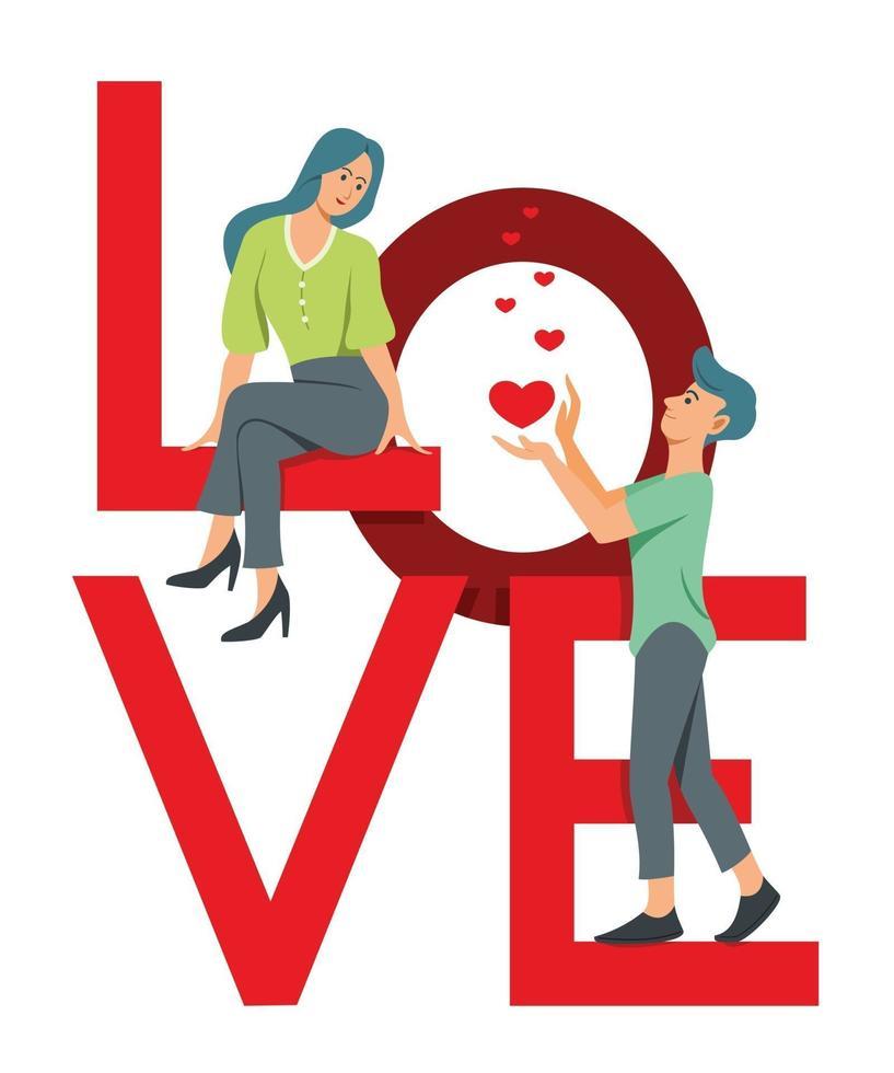 vrouw en man zijn op het grote woord van liefde en flirten. vector