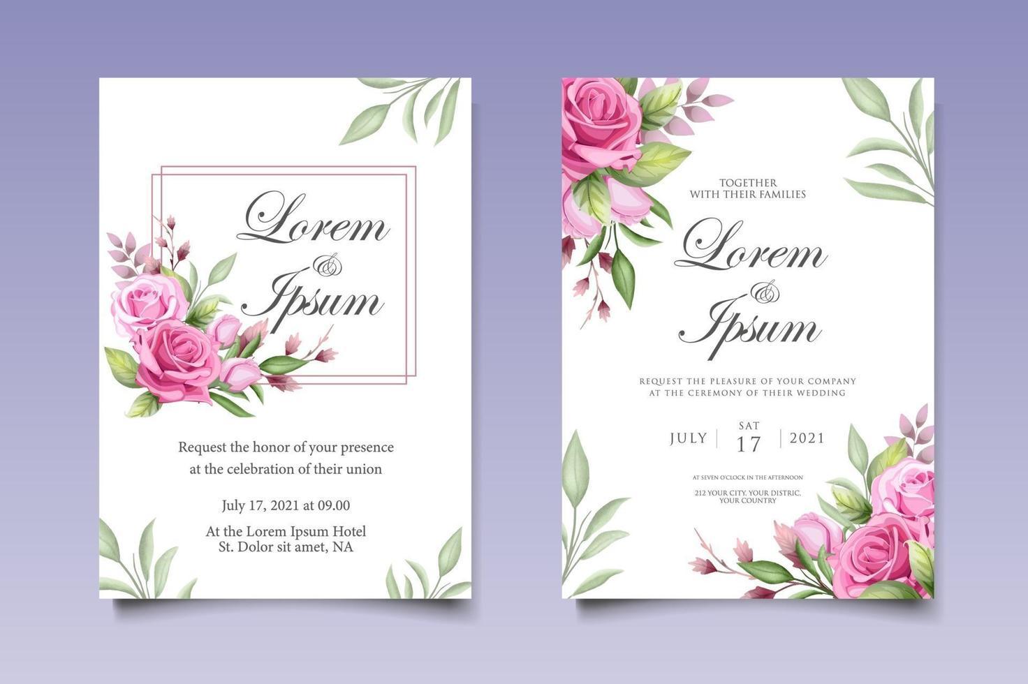mooie hand tekenen bloemen bruiloft uitnodiging sjabloon vector