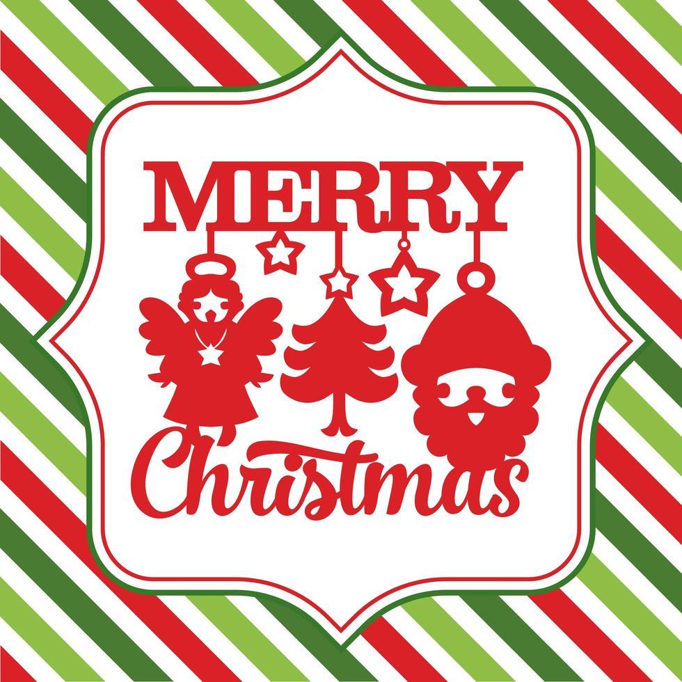 vrolijk kerstfeest schattige symbolen streep achtergrond vector
