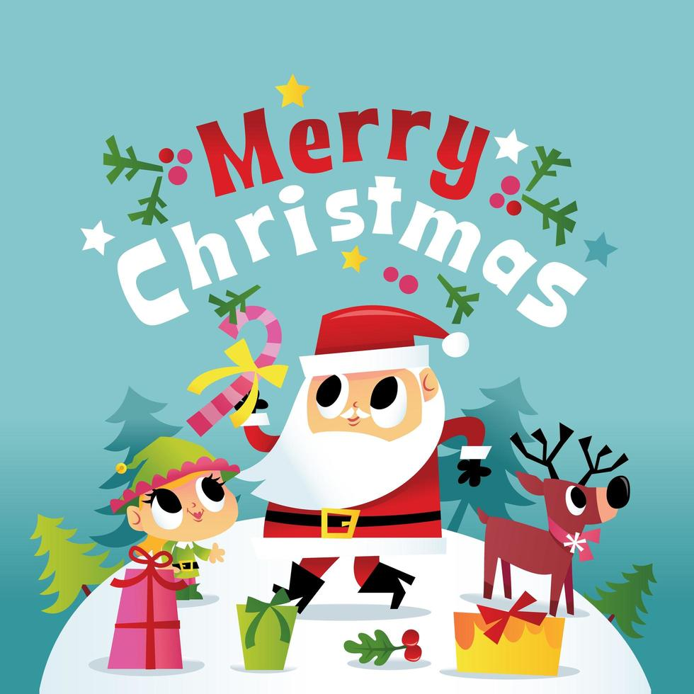 super leuke vrolijke kerst winter santa vrienden vector