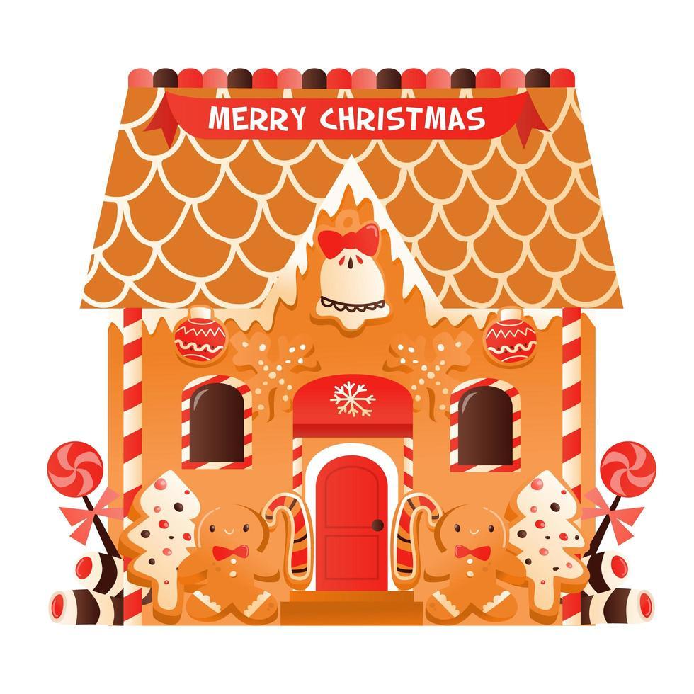 super schattig kerst peperkoekhuisje vector