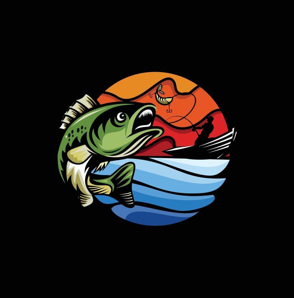 moderne zomervisserijmascot-badge vector