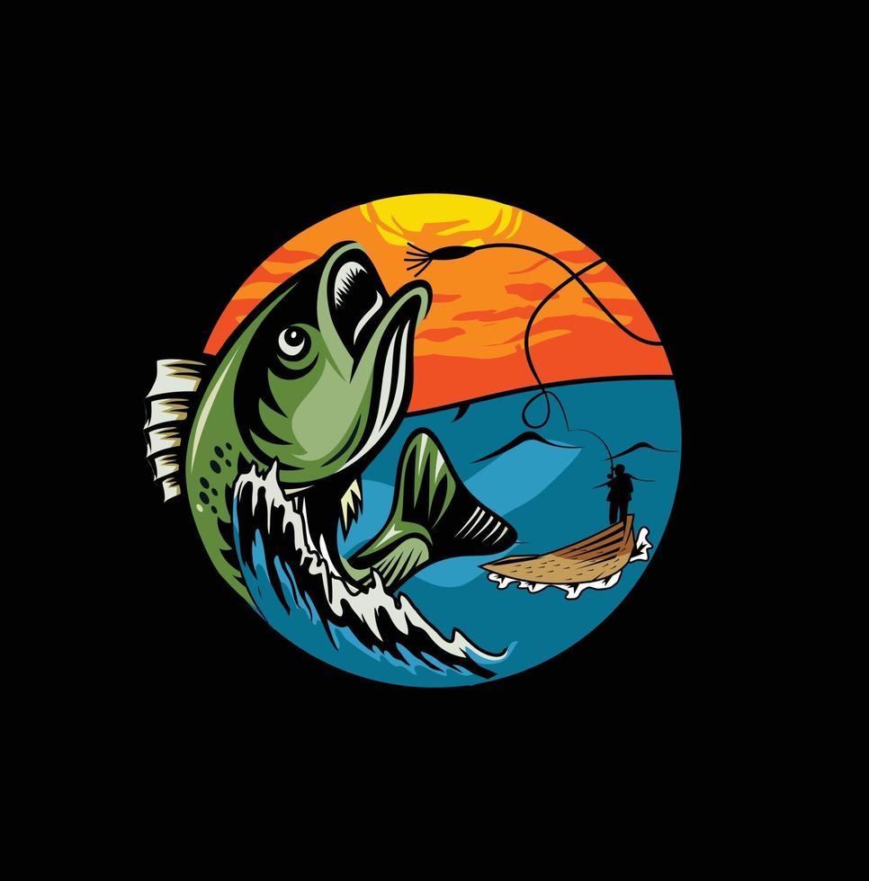 moderne zomervisserij mascotte badge vector