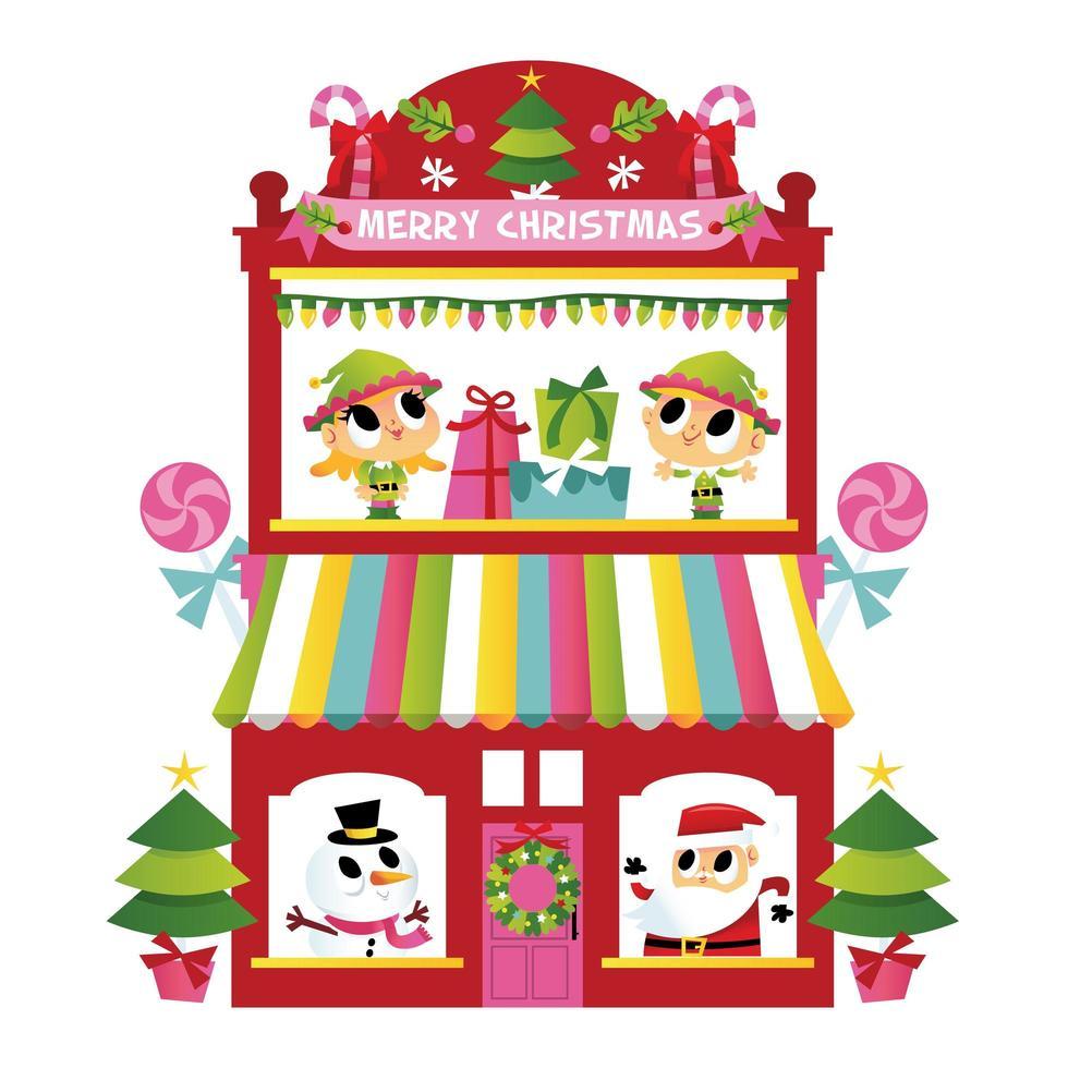 super schattig vrolijk kerstterrashuis vector