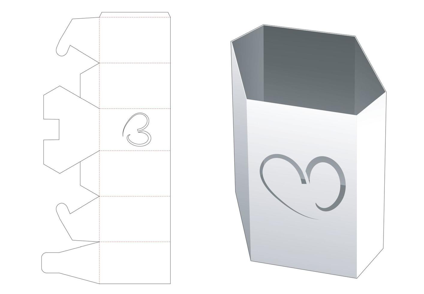 zeshoekige briefpapier doos met hartvormig venster gestanst sjabloon vector