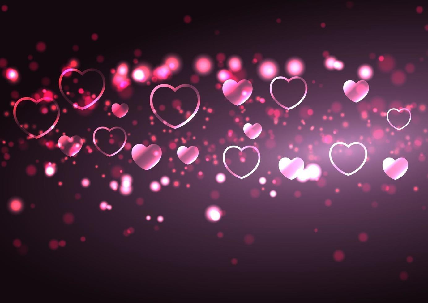 Valentijnsdag achtergrond met hartjes en bokeh lichten vector