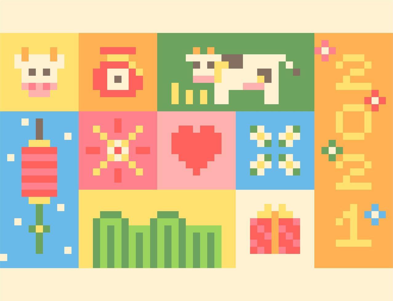 Poster met pixelconcept voor 2021. vector
