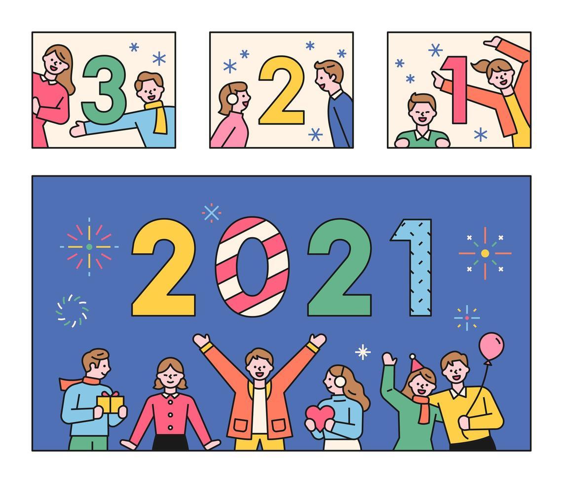 mensen die aftellen naar 2021. vector