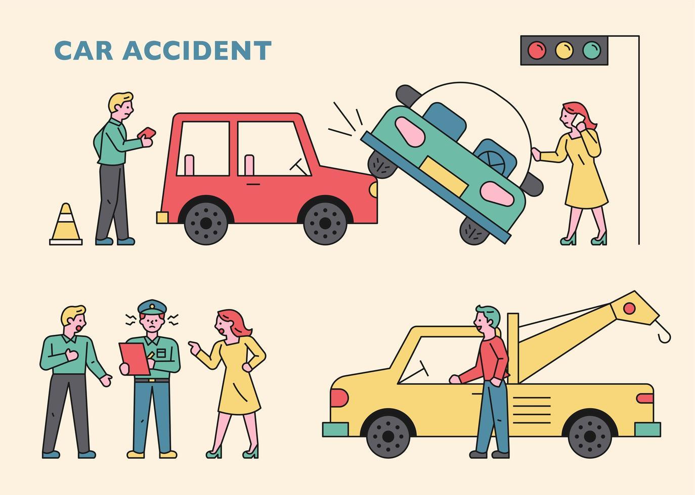 een medewerker van een verzekeringsmaatschappij en een sleepwagen kwamen na een auto-ongeluk. vector