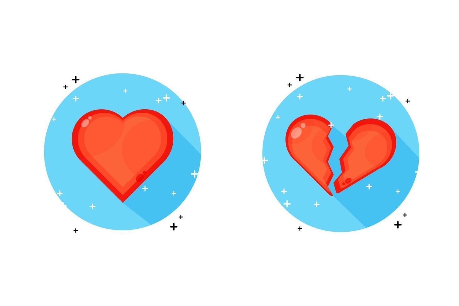 een heel hart en een gebroken hart-pictogram vector