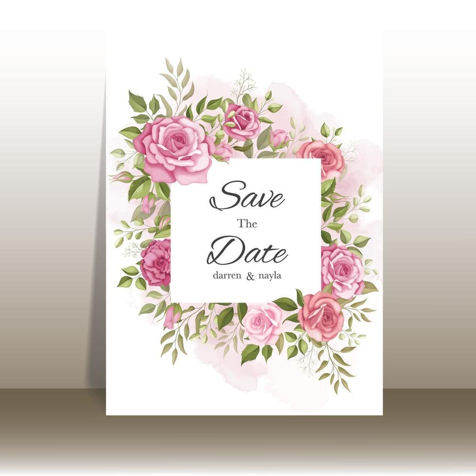 mooie bruiloft uitnodiging kaartsjabloon set vector