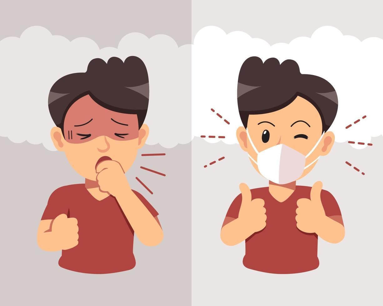 man hoesten en het dragen van beschermend gezichtsmasker tegen rook op achtergrond vector
