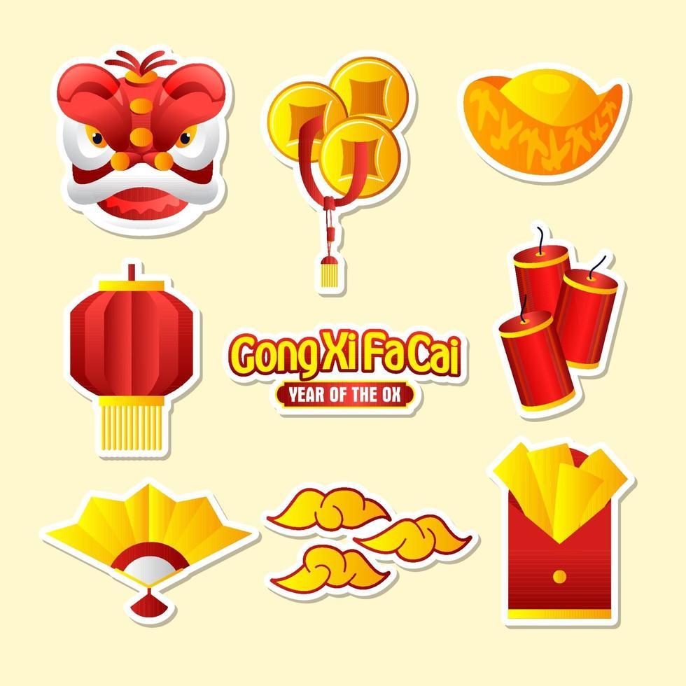 collectie sticker gong xi fa cai vector