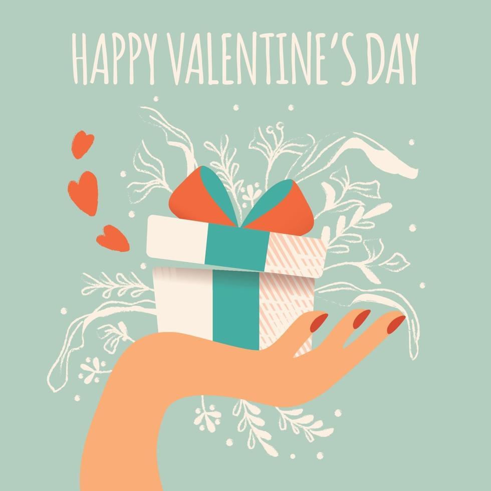 hand met een geschenkdoos met harten, decoratie en typografisch bericht. kleurrijke hand getrokken illustratie voor gelukkige Valentijnsdag. wenskaart met gebladerte en decoratieve elementen. vector