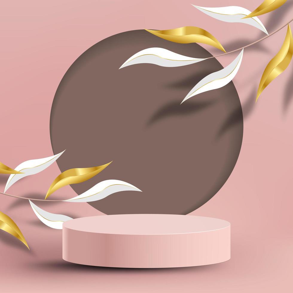 abstracte minimale mock-up met rond podium en bladeren vector