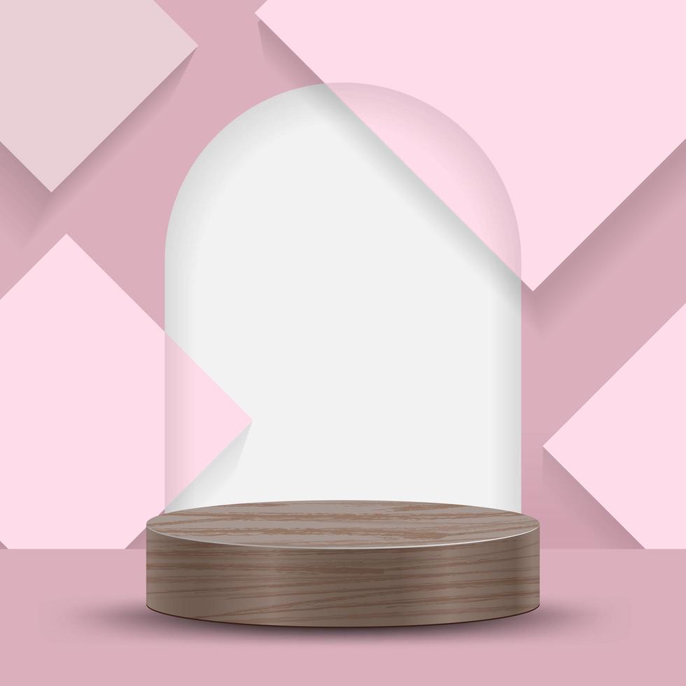 abstracte minimale scène op roze achtergrond met cilinderpodium en bladeren vector
