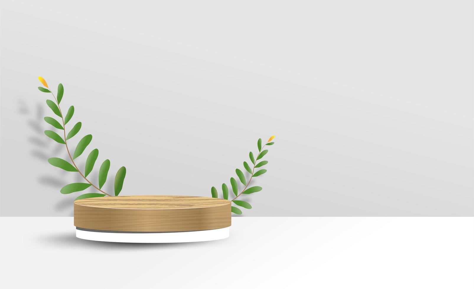 abstracte minimale mock-up met standaard en bladeren vector