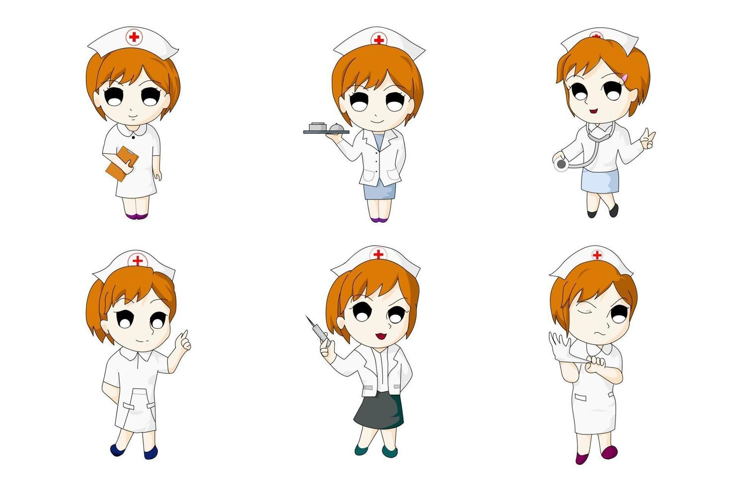 verpleegster zes bundel anime set vector