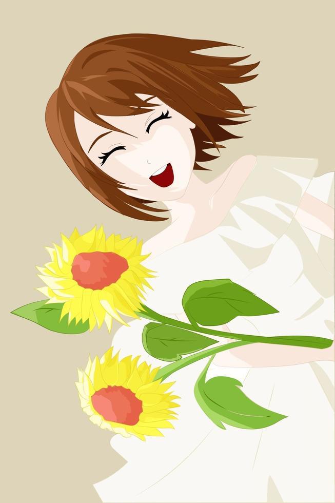 lachend meisje, bruin kort haar, geelwitte jurk en twee zonnebloemen vector