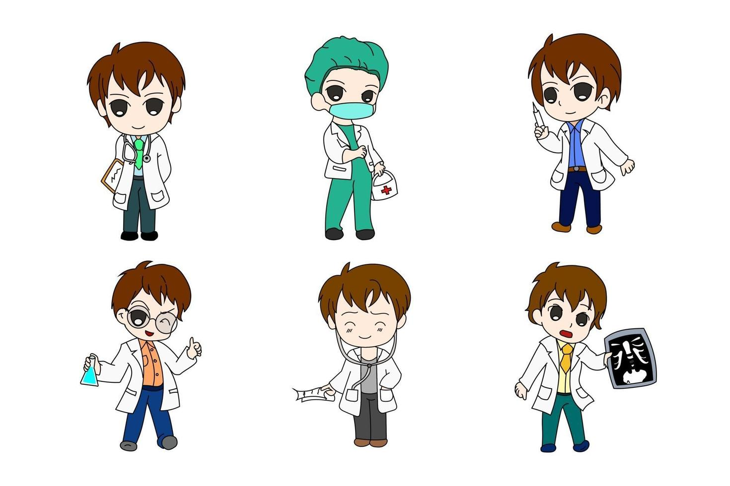 dokter zes bundel anime chi-bi set vector