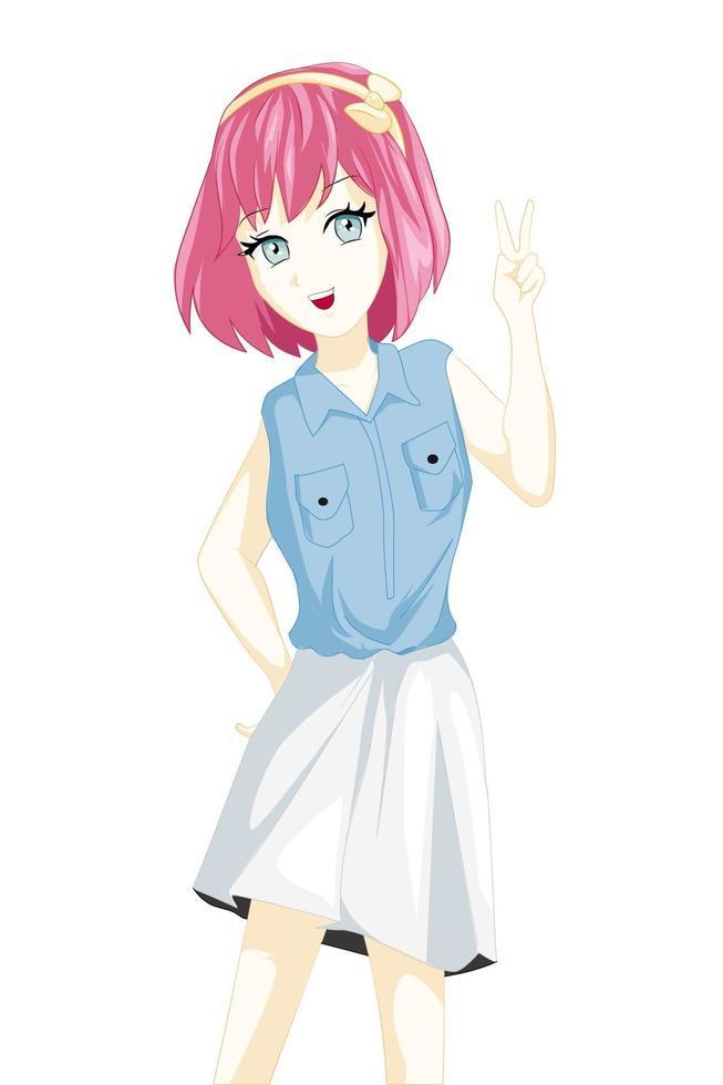 anime meisje met roze haar met twee vingers vredesteken vector
