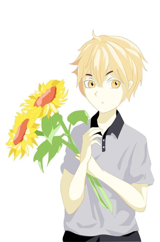 anime jongen met geel haar en twee zonnebloemen vector