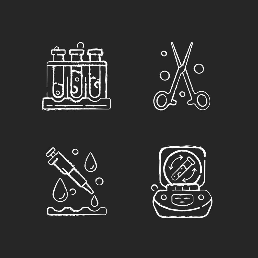 laboratoriuminstrumenten krijt witte pictogrammen ingesteld op zwarte achtergrond vector