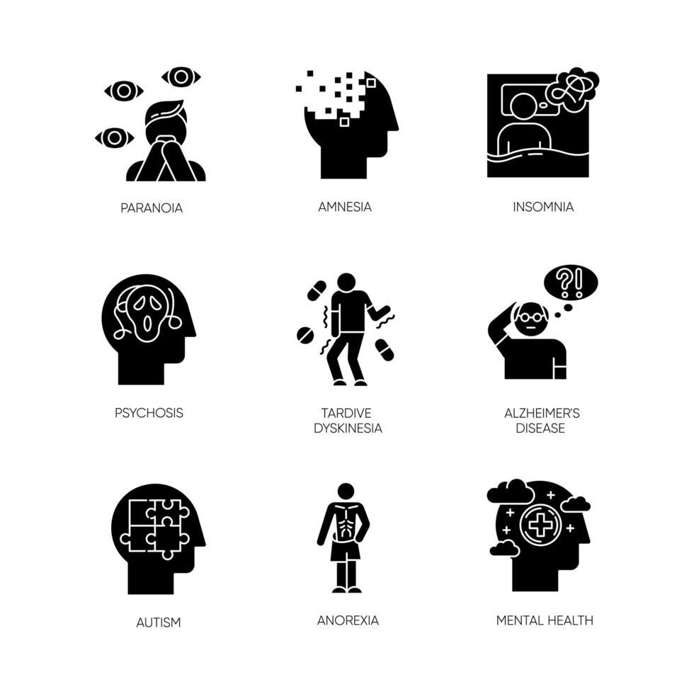 psychische stoornis glyph pictogrammen instellen. paranoia, psychose. geheugenverlies, slapeloosheid. tardieve dyskinesie. Ziekte van Alzheimer. autisme. anorexia. angst, depressie. silhouet symbolen. vector geïsoleerde illustratie