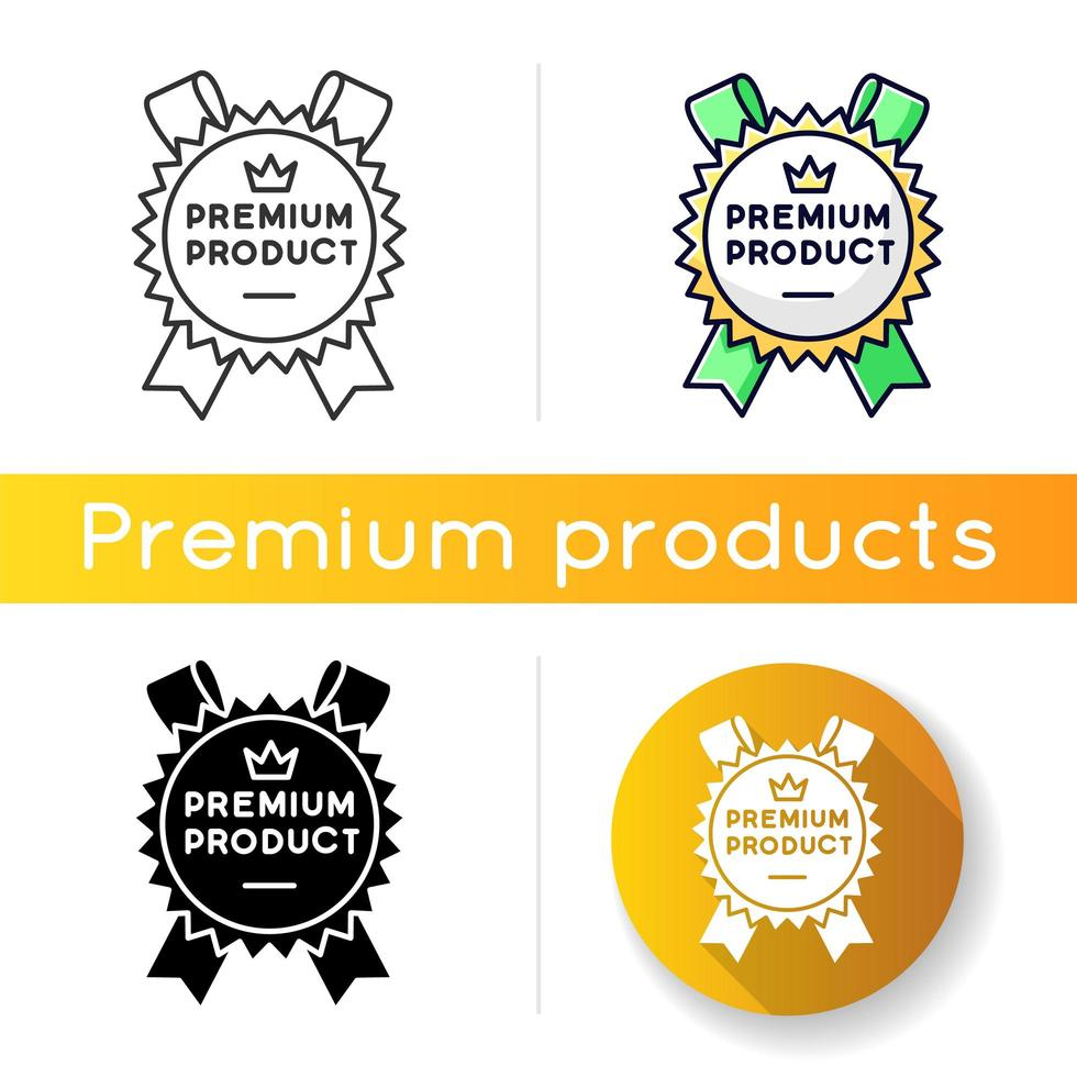 premium product icoon. lineaire zwarte en rgb-kleurstijlen. eersteklas product en service, merkwaarde. koninklijke klasse, beste, superieure goederen badge met geïsoleerde kroon vector illustraties