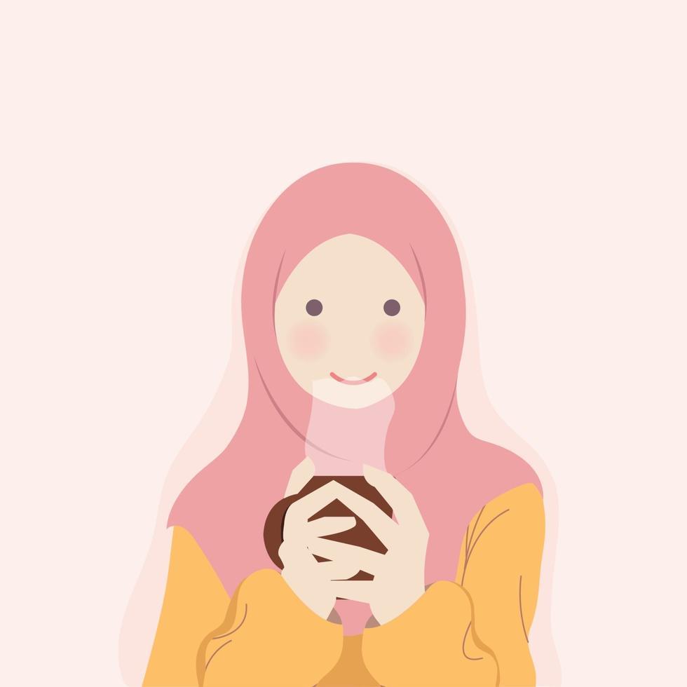 hijab meisje verwarmt zichzelf met warme drank vector