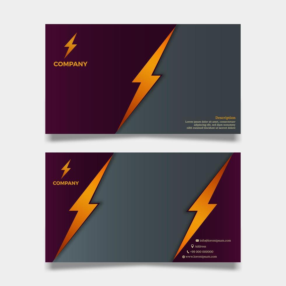 bedrijfs- of organisatiekaart met bliksemontwerp vector